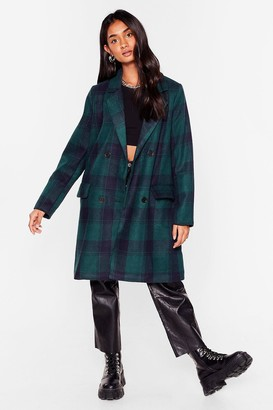 Nasty Gal Womens Meet You At the Checkout Faux Wool Longline Coat - Navy - 10