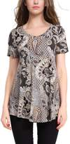 BAISHENGGT Women's V-neck Short Sleeve Flared Printed Tunic Brown