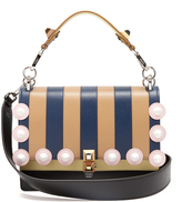 Fendi Kan I striped-leather shoulder bag