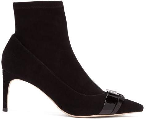 Sophia Webster Andie Bow Trim Suede Boots - Womens - Black