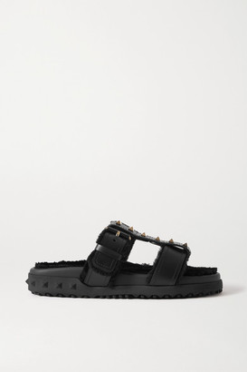 Valentino Garavani Rockstud Shearling-lined Leather Slides - Black