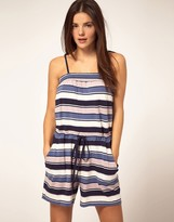French Connection Blue Stripe Jersey Beach Romper