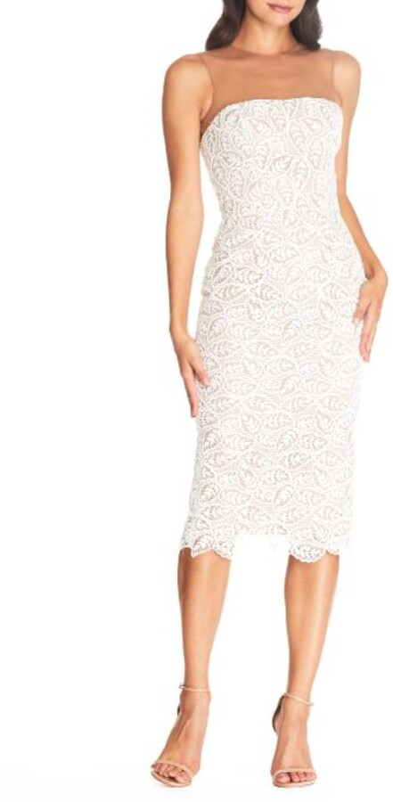 Dress the Population Tegan Lace Strapless Bodycon Cocktail Dress