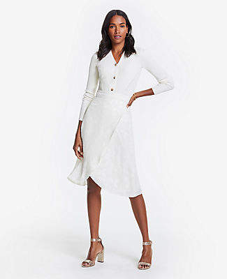 Ann Taylor Tall Floral Clip Jacquard Wrap Skirt