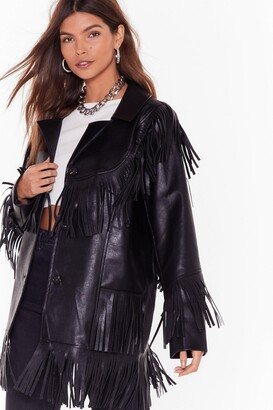 Nasty Gal Womens Leather Going Back Fringed Faux Leather Jacket - black - 8