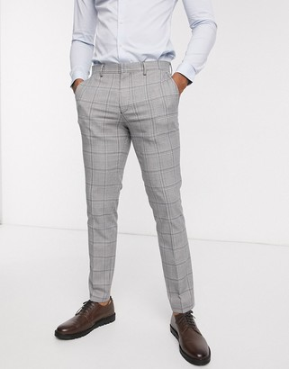 Selected slim fit stretch prince of wales check suit pants in gray