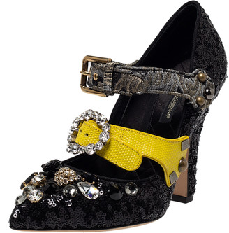 Dolce & Gabbana Black Sequins Embellished Buckle Strap Crystals Mary Jane Pumps Size 37