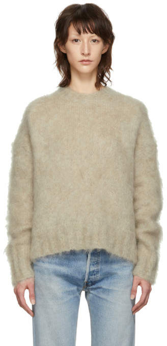 Helmut Lang Beige Brushed Crewneck Sweater