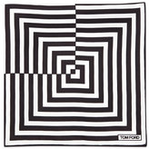 Tom Ford Linear Pattern Pocket Square, Black/White