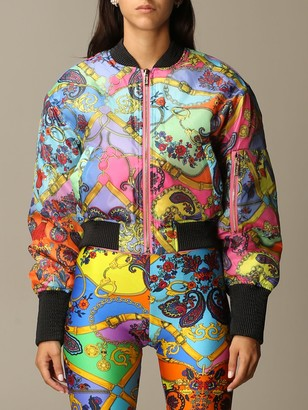 Versace Jeans Couture Bomber Jacket In Fantasy Paisley Fabric