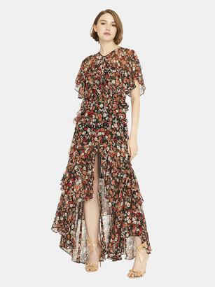MISA Katarina Silk Chiffon Asymmetric Midi Dress