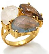 Argentovivo Rainbow Moonstone, Brown Quartz and Gray Labradorite Cluster Ring