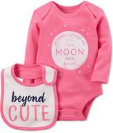 Carter's 2-Pc. To The Moon Cotton Bodysuit & Bib Set, Baby Girls (0-24 months)