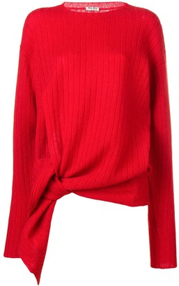 Miu Miu Ribbed Long Asymmetric Sweater
