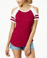 Ultra Flirt By Ikeddi Juniors' Cold-Shoulder Football T-Shirt