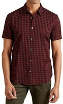 John Varvatos Check Short Sleeve Slim Fit Button-Down Shirt