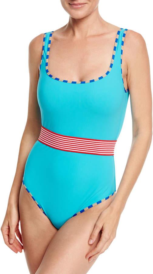 Diane von Furstenberg Classic Belted One-Piece Swimsuit, Blue