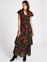 Marks and Spencer Embellished Floral Print Tiered Maxi Dress