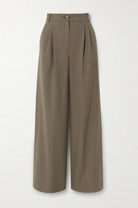 REJINA PYO Ingrid Pleated Wool And Cotton-blend Wide-leg Pants