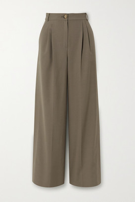 REJINA PYO Ingrid Pleated Wool And Cotton-blend Wide-leg Pants - Gray