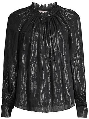 Rebecca Taylor Safari Metallic Silk-Blend Blouse
