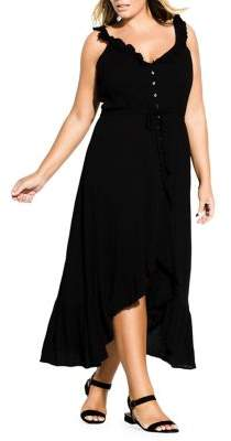 City Chic Plus Ruffle Button Front Maxi Dress