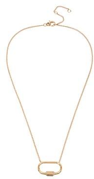 AllSaints Pave Carabiner Delicate Pendant Necklace, 18-20