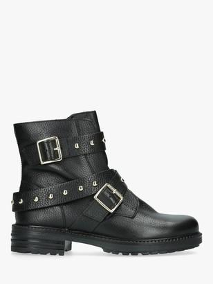 Kurt Geiger London Stinger Stud Buckle Ankle Boots, Black Leather