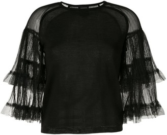 Giambattista Valli Crew Neck Ruffled Top