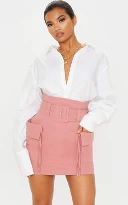 PrettyLittleThing Dusty Rose Belted Pocket Detail Cargo Mini Skirt