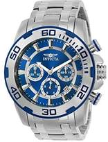Invicta Pro Diver Men's Quartz Watch with Blue Dial Chronograph Display and Silver Stainless Steel Bracelet - 22319