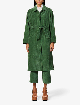 Sessun Jeff belted corduroy trench coat