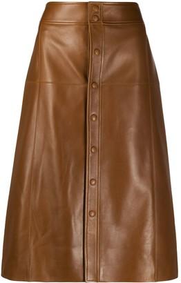 Saint Laurent A-line leather midi-skirt