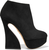 Charlotte Olympia Millie Suede Platform Ankle Boots - Black