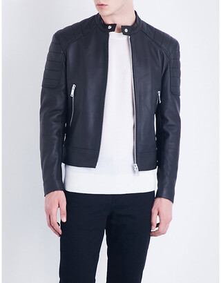 Sandro Stand-collar leather jacket