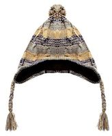 Red Herring Grey Striped Cable Knit Trapper Hat