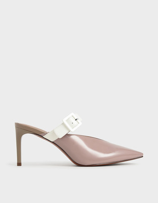 Charles & Keith Patent Mary Jane Strap Stiletto Mules