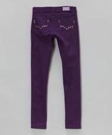 Purple Rhinestone-Pocket Jeans - Girls
