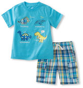 Kids Headquarters Baby Boys Two-Piece Dino-Printed Tee and Plaid Shorts Set