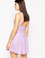 AX Paris Skater Dress with Open Back and Pleat Skirt