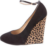 Giuseppe Zanotti Ponyhair-Trimmed Suede Wedges