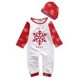 ONE'S Babys Long Sleeve Snowflake Christmas Footie Bodysuit Romper With Hat 2PCS Outfits (3-6 Months, )