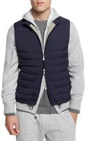 Brunello Cucinelli Nylon Quilted Zip-Up Spa Vest, Navy
