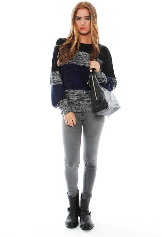LnA Multi Striped Sweater in Blue Multi Stripe
