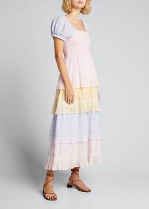 LoveShackFancy Capella Tiered Colorblock Midi Dress