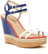 Via Spiga Meza Leather Dual Ankle Strap Platform Wedge
