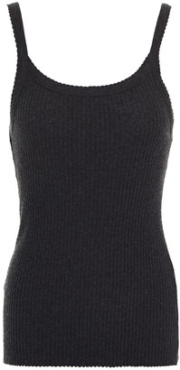 Enza Costa Scalloped Cotton And Cashmere-blend Jersey Tank