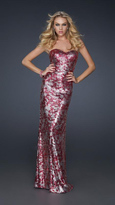 La Femme Gorgeous Sequined Sweetheart Neck Sheath Gown 17480