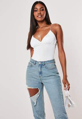 Missguided White Spaghetti Strap Cupped Bodysuit