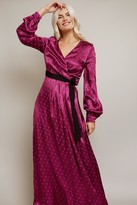 Thumbnail for your product : Little Mistress Tasmin Mulberry Polka-Dot Asymmetric Maxi Wrap Dress